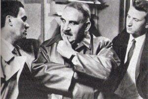 """Von links: Kurt Jaggberg, Fritz Eckhardt und Albert Rolant in der """"Marek""""-Ausstrahlung """"Einvernahme"""" aus dem Jahre 1964. Foto: Fritz Eckhardt / Sammlung oepb"""