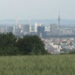 Blick auf Wien, dahinter liegt das Leithagebirge