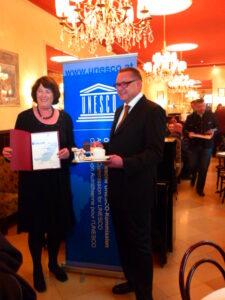 Wiener Kaffeehauskultur als UNESCO-Kulturerbe. Eva Nowotny und Maximilian Platzer. Foto: oepb