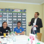 V.l. Trainer Alfred Tatar, Florian Sturm, Presse Simon Hirt