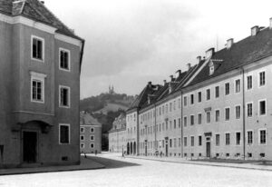 Die Hartmayrsiedlung in Urfahr 1949 mit Blick auf den Pöstlingberg. Foto: Wöhrl/NORDICO