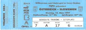 TOTO lud zum bisher letzten Linz-Länderspiel gegen Slowenien im Jahre 1997.