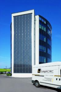 Blick auf das neue Firmengebäude von Elektro-Kagerer in Pasching bei Linz. Foto: Elektro-Kagerer