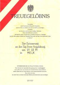 Treuegelöbnis per 1. Feber 1991.