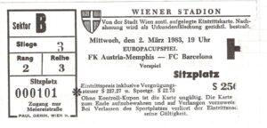 Eintrittskarte Hinspiel FK Austria Wien gg. CF Barcelona (0 : 0) vom 2. März 1983. Sammlung: oepb