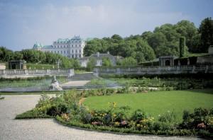 Blick vom Kammergarten auf das Obere Belvedere. Foto: Ingrid Gregor