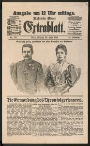 """Am 29. Juni 1914 weiß das """"Illustrirte Wiener Extrablatt"""" von der Ermordung des Thronfolgerpaares zu berichten."""