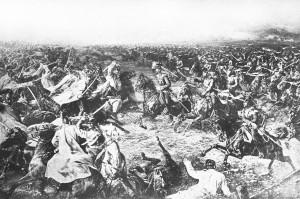 Blutige Szene aus der Schlacht bei Königgrätz von 1866. Fotodruck ONB