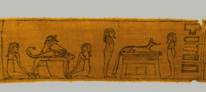 Mumienbinde mit Anubis, Leinen Ptolemäische Zeit. Foto: Österr. Nationalbibliothek