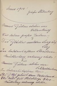 Poesiealbum-Eintrag aus dem Jahre 1914. Foto: Österreichische Nationalbibliothek