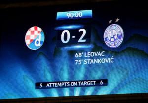 Bilder sagen mehr als Worte. Die Anzeige-Tafel im Maksimir-Stadion nach Spielschluss. Foto: GEPA