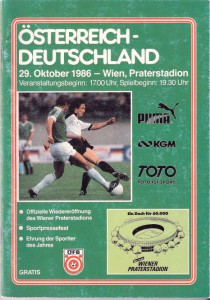Offizielles ÖFB-Matchprogramm vom 29. 10. 1986.
