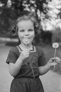 Kleines Mädchen mit Löwenzahn um 1935.