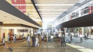 Blick in die virtuelle künftige Haupthalle in Richtung Osten. Foto: ÖBB/Stadt Wien