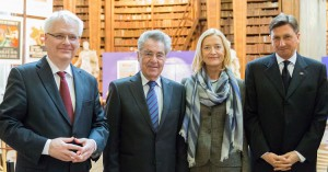 Drei Staatspräsidenten besichtigen Österreichische Nationalbibliothek