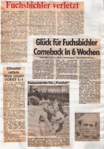 Faksimile vom 30. April 1983. Erwin Fuchsbichler prallt in der Hitze des Gefechtes auf die rechte Schulterpartie und zieht sich die x-te Verletzung in seiner Laufbahn zu.