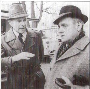 Selten ein Herz und eine Seele, aber zwei Funktionäre vom Scheitel bis zur Sohle. Johann Rinner (links) und LASK-Präsident Rudolf Trauner anläßlich eines der unzähligen Linzer Stadt-Derbys in den 1970er Jahren. Für ihre Klubs sprangen beide sprichwörtlich durchs Feuer. Foto: privat