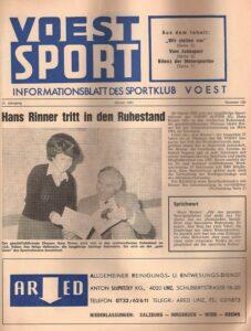 """Würdigung von Johann Rinner in der Werkszeitung """"VÖEST-Sport"""" aus Anlass seines bevorstehenden Ruhestandes im Jänner 1981. Foto: Faksimile"""