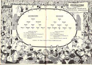 In der Heftmitte des Matchprogramms die Mannschaftsaufstellung beider Teams.