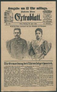 """""""Illustrirtes Wiener Extrablatt"""" mit der Meldung von der Ermordung des Thronfolgerpaares, 29. Juni 1914"""