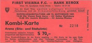 Stadion-Doppel-Ticket von 1981: Vienna - WAC (4 : 0), Austria - Admira/Wacker (2 : 0)
