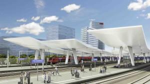 Visualisierung Hauptbahnhof Wien: Bahnsteige und ÖBB-Konzernzentrale. Foto: ÖBB/Stadt Wien