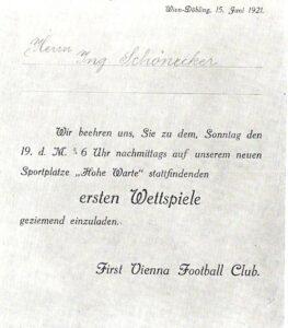 """Ein historisches Dokument stellt die Einladung für den Erschaffer der """"neuen"""" Hohen Warte dar."""