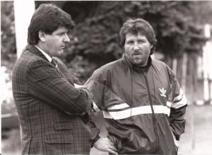 """Zwei alte Weggefährten wieder vereint: """"Milo"""" und Willi Kreuz 1989/90 beim SK VÖEST."""