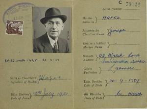 Pass von Joseph Heapes, Royal Irish Rifles, im späteren Leben. Foto: Máire Uí Éafa