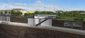 Derzeit noch Zukunftsmusik, aber sehr bald schon herrliche Realität: Blick auf die U1-Station Altes Landgut vor Generali-Arena. Foto: Architektengruppe U-Bahn/BEKO Engineering & Informatik AG