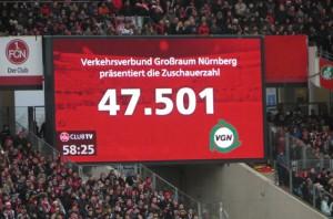Ein knapp ausverkauftes Frankenstadion zur Nürnberg anlässlich des ältesten Derbys in Deutschland/Nürnberg gg. Fürth, 0 : 0, 20.12.2014. Foto: oepb.at
