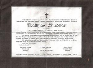 Todesanzeige in Jänner 1939 in der Tages-Presse.