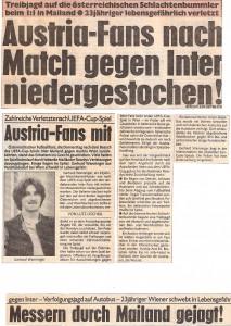 Faksimile vom Austria-Spiel in Mailand im Dezember 1983.
