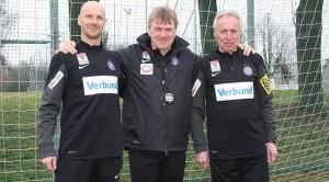 Diese Drei sollen es von nun an richten: Christoph Glatzer, Andreas Ogris und Robert Sara (von links) leiten ab sofort die Geschicke beim FK Austria Wien. Foto: FAK