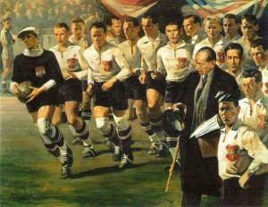 Die Wunderknaben des Österreichischen Wunderteams von links nach rechts: Rudolf Hiden (Wiener AC / WAC), Roman Schramseis (SK RAPID Wien), Leopold Hofmann (First VIENNA FC), Josef Blum (VIENNA), Hans Mock (FK Austria Wien), Josef Smistik (RAPID), Georg Braun (WAC), Karl Gall (Austria), Karl Zischek (SC Wacker Wien), Matthias Sindelar (Austria), Adolf Vogl (SK Admira Wien), Friedrich Gschweidl (VIENNA). Mittlere Reihe: Teamchef und Verbands-Kapitän Hugo Meisl (Austria, mit Melone und Mantel), Karl Rainer (VIENNA), Anton Schall (Admira). Davor: Karl Sesta (WAC). Ganz vorne: Team-Kapitän Walter Nausch (Austria).