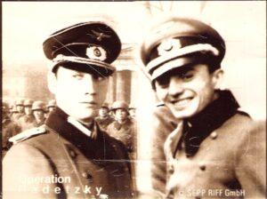 """Burgschauspieler Ulrich Rheintaler (links) verkörperte im Film """"OPERATION RADETZKY"""" die Person von Major Carl Szokoll. Rechts: der 29jährige Carl Szokoll des Jahres 1944. Bild: Riff GesmbH"""