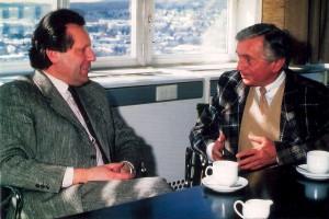 ORF-Intendant Johannes Kunz interviewt den Major a.D. Carl Szokoll als Zeitzeuge des Kampfes der österreichischen Widerstandsbewegung im Kampf gegen Adolf Hitler und für die Republik Österreich. Foto: privat