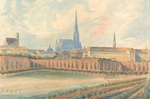 Rundgang um die Bastei, Blick auf den Stephansdom, Ausschnitt Emil Hütter 1858. Foto: ÖNB