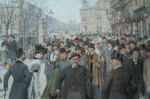 Ringstraßen-Korso: Das bürgerliche Leben auf der Wiener Ringstraße um 1900. Foto: ÖNB