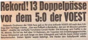 Faksimile OÖ-Kronen-Zeitung vom April 1986. Gerald Haider erzielt gegen die Vienna beim 5 : 0-Erfolg 4 Tore.  Foto: Sammlung oepb