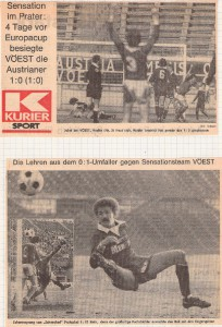 Faksimile KURIER vom März 1979 aus Austria gg. VÖEST, 0 : 1. Foto: Sammlung oepb
