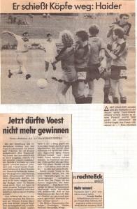Faksimile OÖ-Nachrichten vom Juni 1983 aus VÖEST gg. Admira/Wacker, 3 : 2. Foto: Sammlung oepb