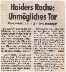 Faksimile OÖ-Nachrichten vom September 1983 aus VÖEST gg. GAK, 1 : 0. Foto: Sammlung oepb