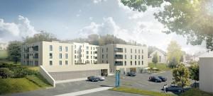 41 Wohnungen, Tiefgaragenplätze und Geschäftslokale finden im geplanten Projekt Weißkirchen Mitte Platz. Foto: urmann architekten ZT GmbH