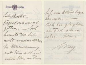 Abschiedsbrief von Mary Vetsera an ihre Mutter. Foto: ÖNB