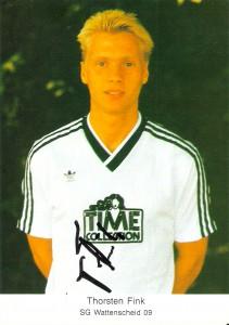 Der 22jährige Thorsten Fink im Dress der SG Wattenscheid 09 aus Bochum 6 der Spielzeit 1989/90, 2. Deutsche Bundesliga am Beginn seiner großen Karriere.