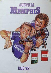 Zwei, die sich auf Anhieb blind verstanden und die den Gegnern oftmals das Fürchten lehrten: Herbert Prohaska (oben) und Tibor Nyilasi auf einem Fan-Poster im Sommer 1983. Foto: oepb