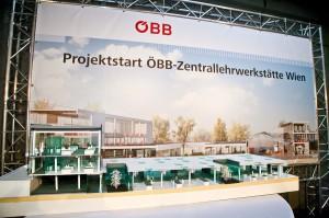 Blick auf die neue ÖBB-Zentralwerkstätte Wien (Modell). Foto: ÖBB/Krischanz