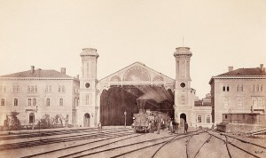 Blick auf die Abfahrtshalle des Kaiserin Elisabeth Bahnhofes, den späteren Wiener Westbahnhof, um 1859. Foto: Andreas Groll / WIEN MUSEUM