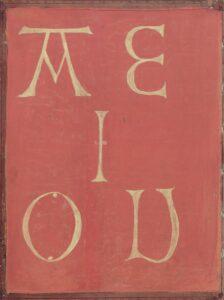 Devise Friedrichs III.: AEIOU. Gebetbuch für Kaiser Friedrich III. (1415 1493) Vorderdeckel, innen Handschrift, Wien, nach 1473/74. Bild: ÖNB